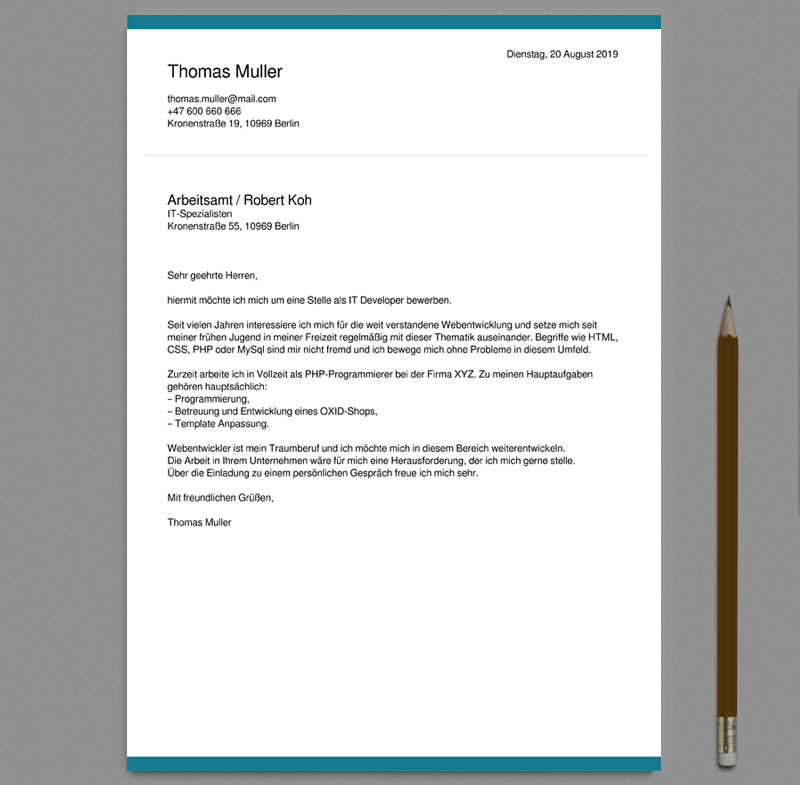 German Cover Letter Templates free