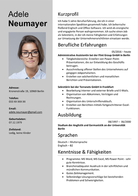 sample resume german