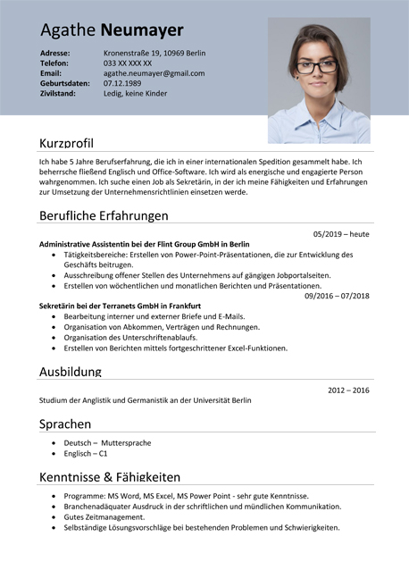 Curriculum Vitae - template, sample / German, Austria, Switzerland