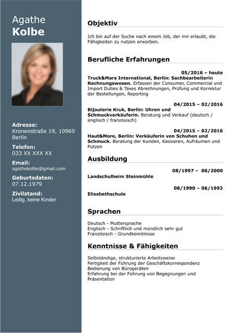 lebenslauf muster sample resume german