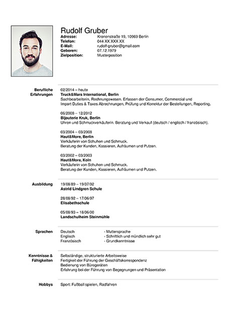 Deutsch Cv Template Thorcicerosco