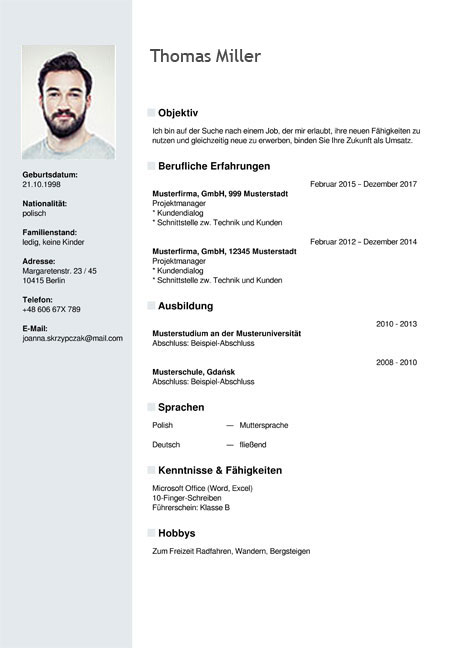 curriculum vitae resume template sample german austria